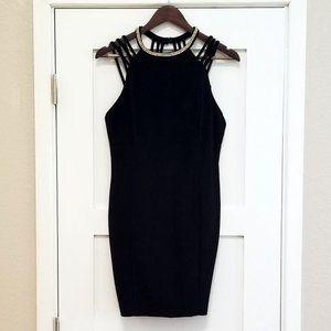 Strappy Black Mini Dress w/Rhinestone Collar L